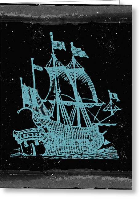 Blue Clipper Ship Starry Night Greeting Card by Brandi Fitzgerald