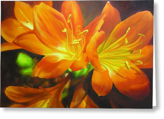 Greeting Card featuring the painting Clivias by Chris Hobel