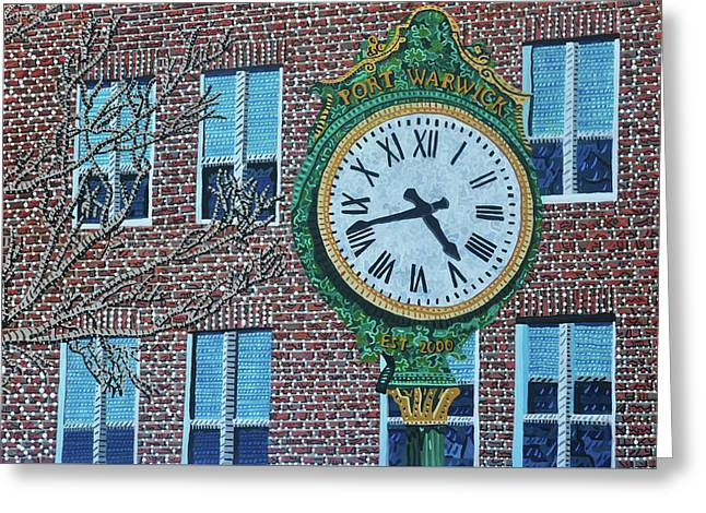 Clock At Port Warwick Greeting Card by Micah Mullen