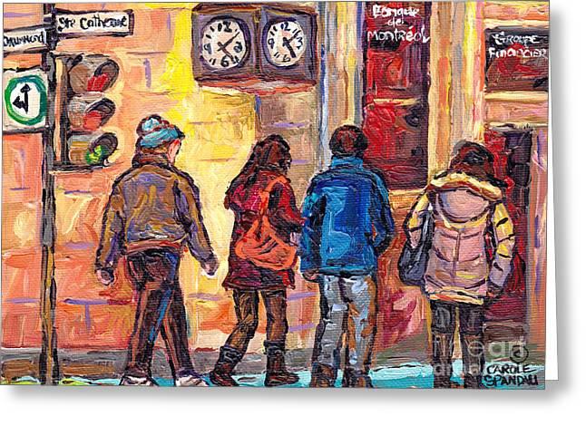 Clock Corner Drummond And St Catherine Downtown Scenes Montreal 375 Original Art Carole Spandau      Greeting Card