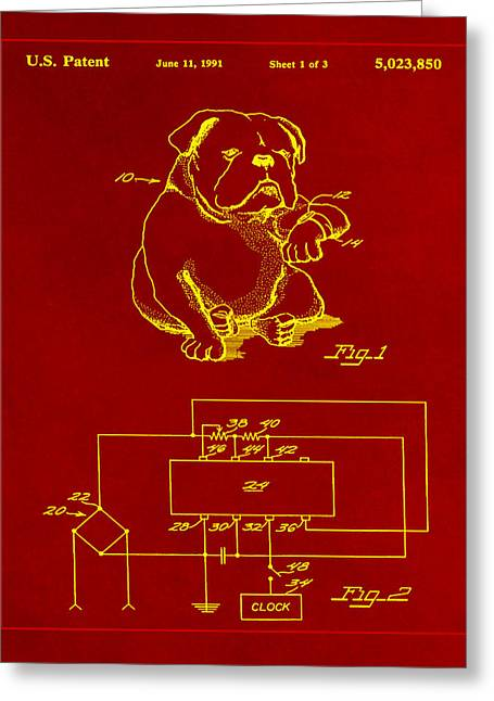 Clock For Keeping Animal Time Patent Drawing 1a Greeting Card by Brian Reaves
