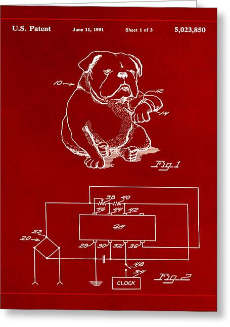 Clock For Keeping Animal Time Patent Drawing 1b Greeting Card by Brian Reaves