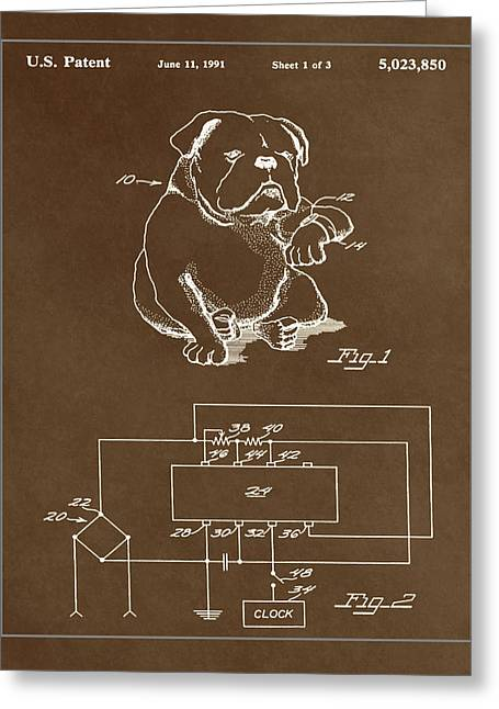 Clock For Keeping Animal Time Patent Drawing 1c Greeting Card by Brian Reaves