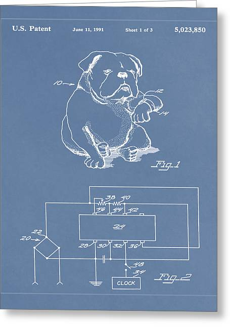 Clock For Keeping Animal Time Patent Drawing  Greeting Card by Brian Reaves