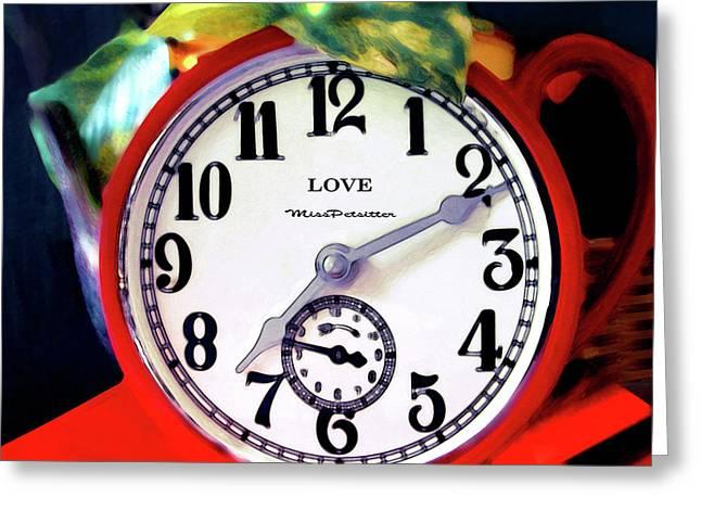 Clock In The Garden  4 Greeting Card
