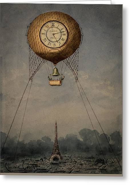 Clock Over Paris Greeting Card