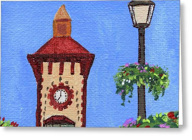 Clock Tower Impressionistic Landscape Xxxvii Greeting Card