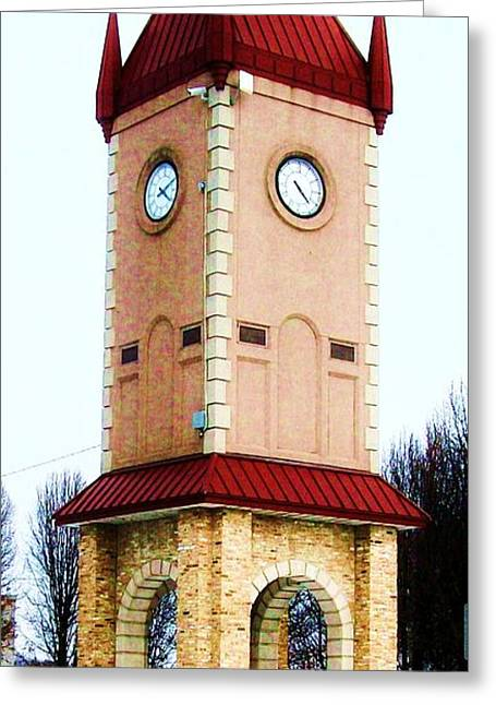 Clock Tower In Czech Village Greeting Card by Marsha Heiken
