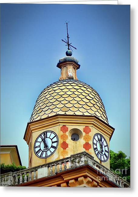 Clock Tower Of Portofino Greeting Card by Sue Melvin