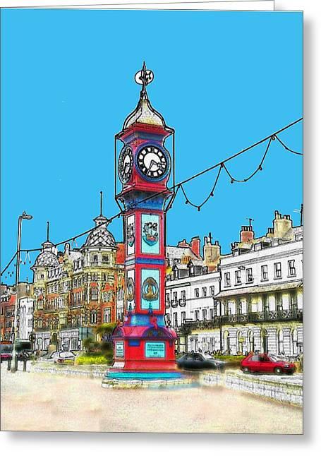 Clock Tower Greeting Card by Paul Hemmings