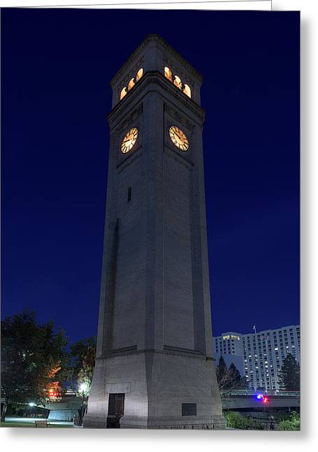Clock Tower Spokane W A Greeting Card by Steve Gadomski