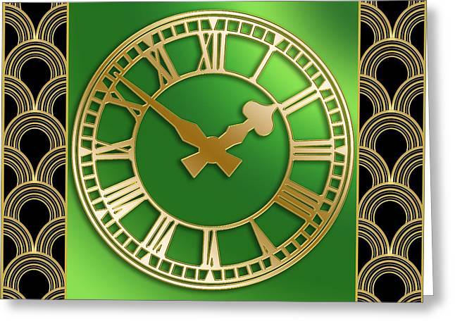 Greeting Card featuring the digital art Clock With Border by Chuck Staley
