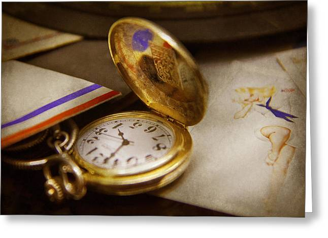 Clockmaker - Time Never Waits  Greeting Card by Mike Savad