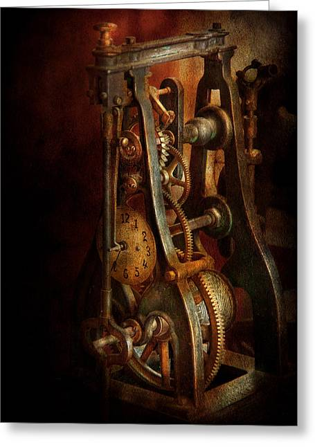 Clockmaker - Careful I Bite Greeting Card by Mike Savad