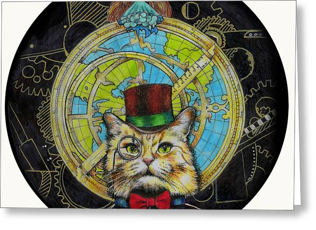 Clockwork Cat Greeting Card by Diana Paterson