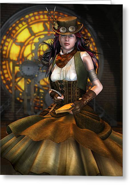 Clockwork Greeting Card by Mary Hood