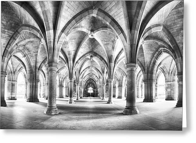 Cloister Black And White Panorama Greeting Card by Jane Rix