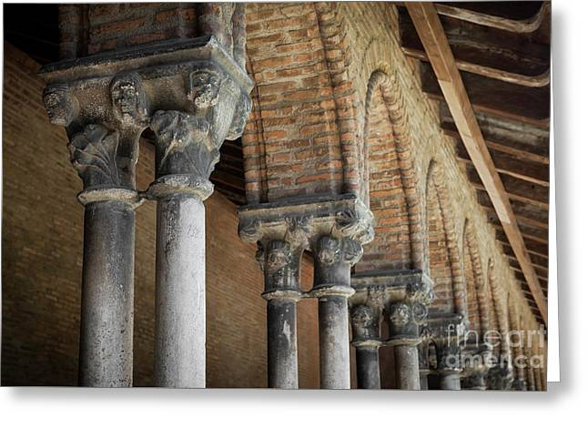 Greeting Card featuring the photograph Cloister Columns, Couvent Des Jacobins by Elena Elisseeva