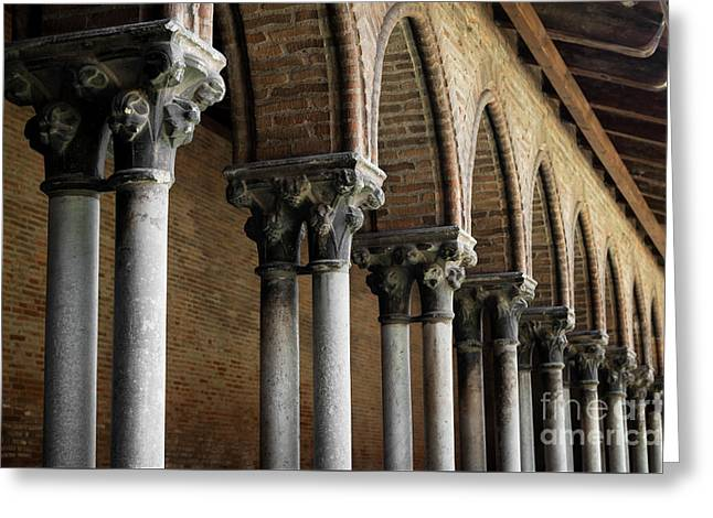 Greeting Card featuring the photograph Cloister Detail, Couvent Des Jacobins by Elena Elisseeva