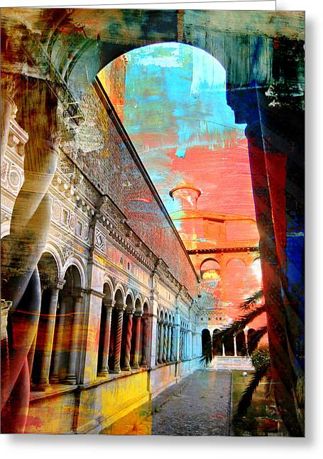 Rome Greeting Cards - Cloister in Rome Greeting Card by Mindy Newman