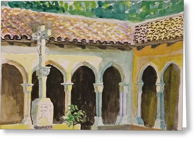 Greeting Card featuring the painting Cloister, Nyc by Nicolas Bouteneff