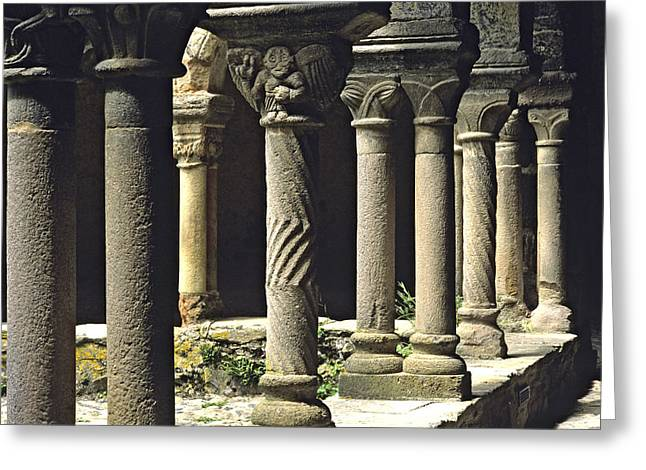 Cloister Of Lavaudieu. Haute Loire. Auvergne Greeting Card by Bernard Jaubert