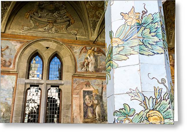 cloister of St. Chiara deyail Greeting Card by Massimo Lama
