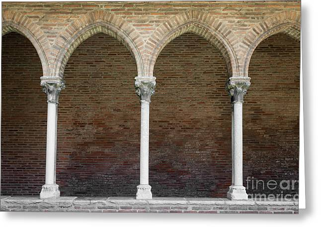 Greeting Card featuring the photograph Cloister With Arched Colonnade by Elena Elisseeva