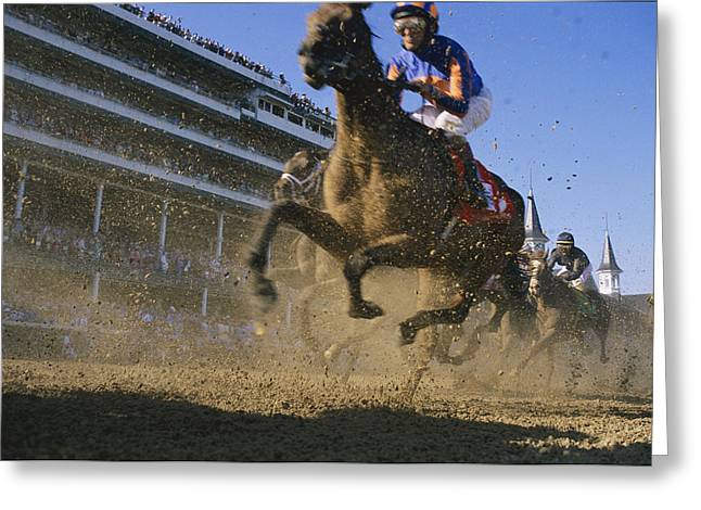 Animals In Action Greeting Cards - Close Action Shot Of Horses Racing Greeting Card by Melissa Farlow