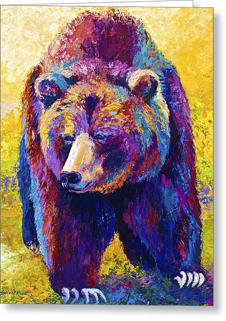 Denali Greeting Cards - Close Encounter - Grizzly Bear Greeting Card by Marion Rose