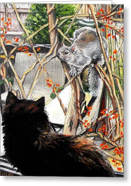 Close Encounter Greeting Card by Eileen Patten Oliver