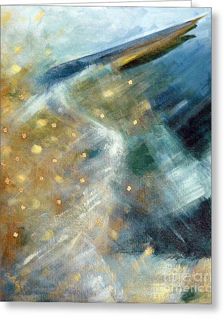 Greeting Card featuring the painting Close Encounter With A Great Blue by Suzanne McKee