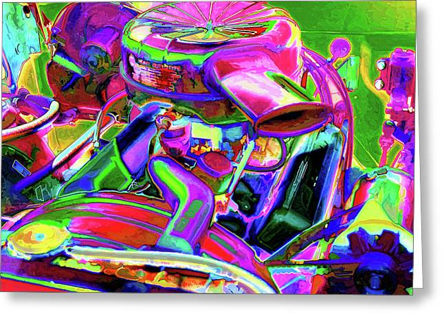 Close Up Detail Of Use Car Engine Greeting Card by Lanjee Chee