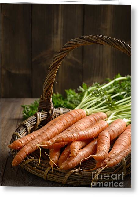 Close Up Dirty Carrots Greeting Card