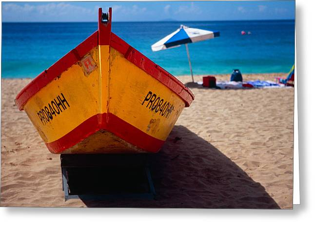 Close Up Frontal View Of A Colorful Boat On A Caribbean Beach Greeting Card by George Oze