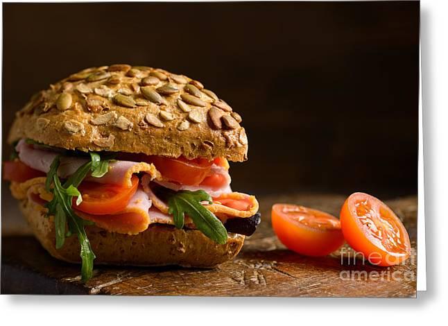 Close Up Ham Salad Roll Greeting Card