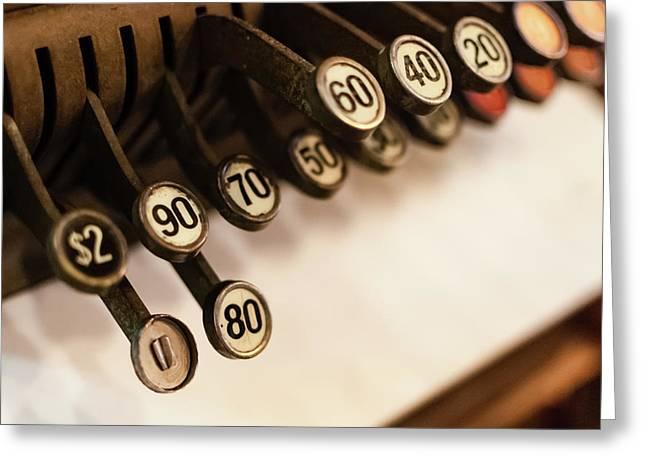 Close-up Of Antique Cash Register Keys Greeting Card by Bradley Hebdon