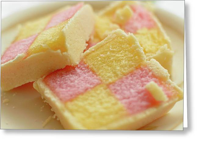 Close Up Of Battenberg Cake E Greeting Card