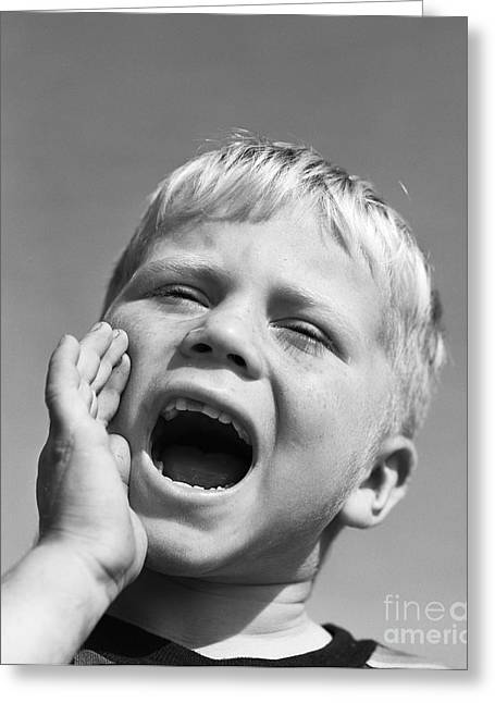 Close-up Of Boy Shouting, C.1950s Greeting Card by D. Corson/ClassicStock