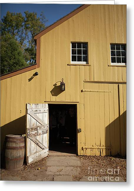 Close Up Of Landis Valley Yellow Barn Greeting Card