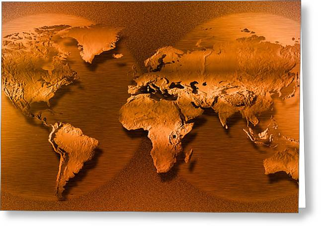 Globalization Greeting Cards - Close-up Of Map Of World Greeting Card by Panoramic Images