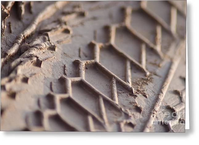 Close Up Of Motorcycle Tread Pattern On Muddy Trail Greeting Card by Jason Rosette