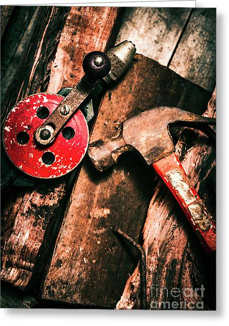 Close Up Of Old Tools Greeting Card by Jorgo Photography - Wall Art Gallery