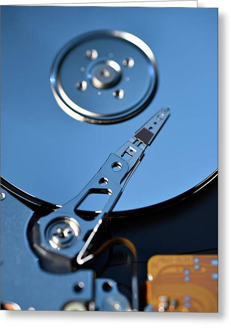Close Up Of Open Hard Disk Drive Data Storage For Laptop Greeting Card by Reimar Gaertner