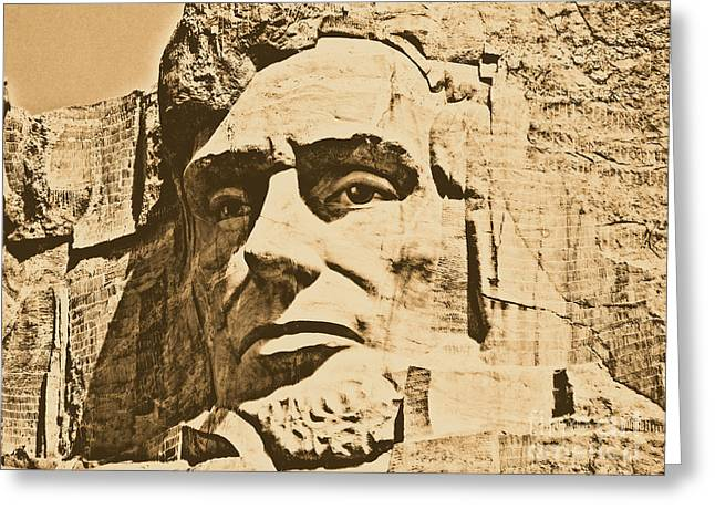 Close Up Of President Abraham Lincoln On Mount Rushmore South Dakota Rustic Digital Art Greeting Card by Shawn O'Brien