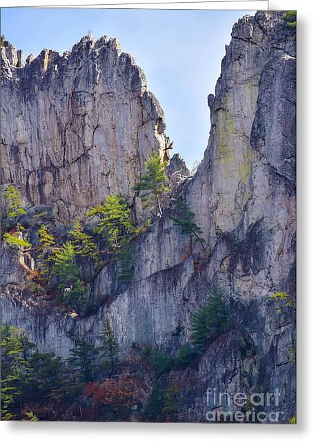 Close-up Of Seneca Rocks Top Edge Greeting Card