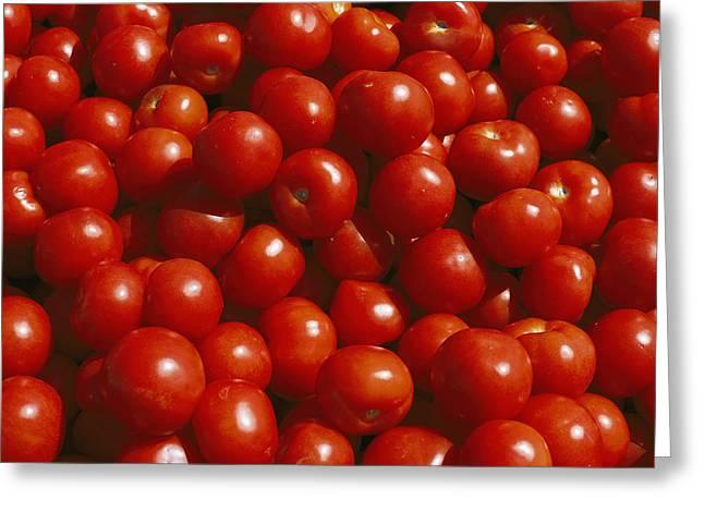 Close-up Of Tomatoes At A Market Greeting Card