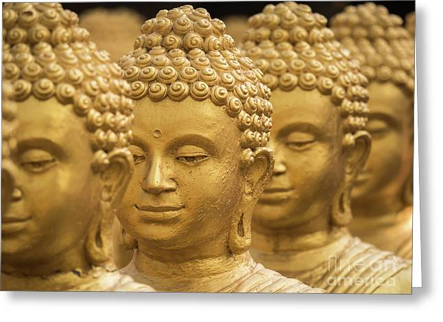 Close-up On Head Buddha Statue, Soft Focus. Greeting Card by Tosporn Preede