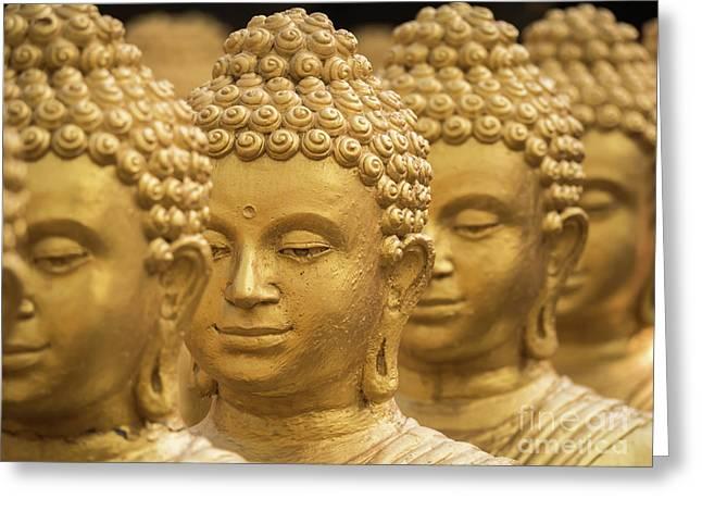 Close-up On Head Buddha Statue, Soft Focus. Greeting Card