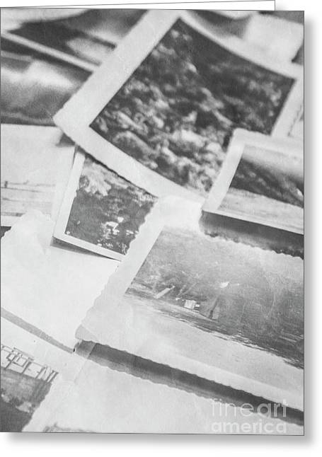 Close Up On Old Black And White Photographs Greeting Card